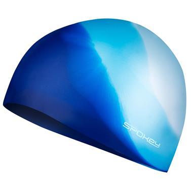 Spokey ABSTRACT-Plavecká čepice silikonová modrá s bílým v zadu