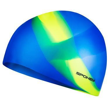 Spokey ABSTRACT-Plavecká čepice silikonová modrá se žlutým pruhem