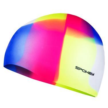 Spokey ABSTRACT-Plavecká čepice silikonová žluto-růžovo-modrá kostka