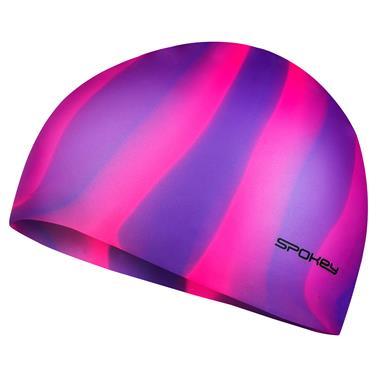 Spokey ABSTRACT-Plavecká čepice silikonová fialovo-růžové pruhy