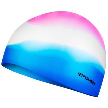 Spokey ABSTRACT-Plavecká čepice silikonová růžovo-bílo-modrá