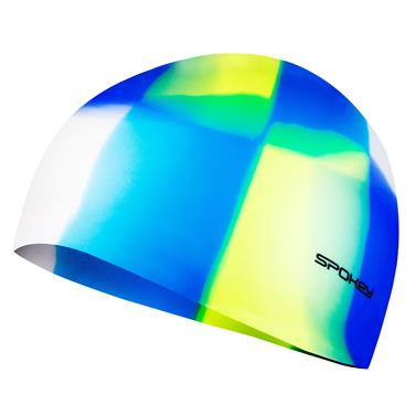 Spokey ABSTRACT-Plavecká čepice silikonová bílo-modro-žluto-fialová