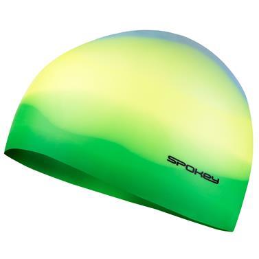 Spokey ABSTRACT-Plavecká čepice silikonová žlutá se zeleným okrajem