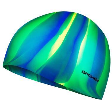 Spokey ABSTRACT-Plavecká čepice silikonová modro-žluto-zelené pruhy