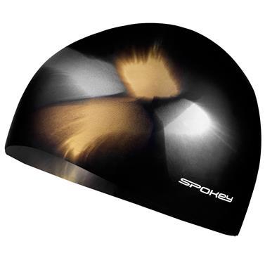 Spokey ABSTRACT-Plavecká čepice silikonová hnědo-žlutá