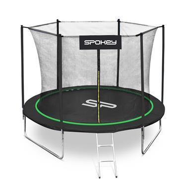 Spokey JUMPER Trampolína černo-zelená, průměr 244 cm, vč. ochranné sítě a žebříku