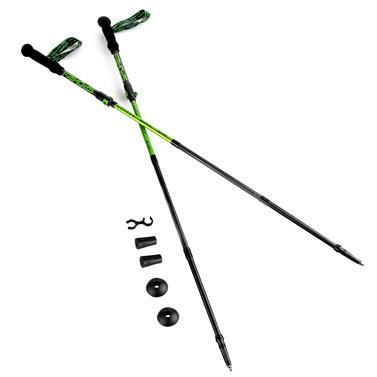 Spokey SKY RUN Trekingové hole karbonové s napínacím lankem, 4-dílné, šedo-zelené